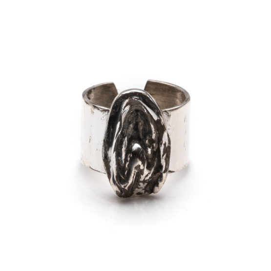 Bague grand model clitoris argent